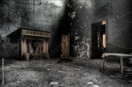 Obraz Old fireplace in an abandoned room of an old house - fototapety do salonu