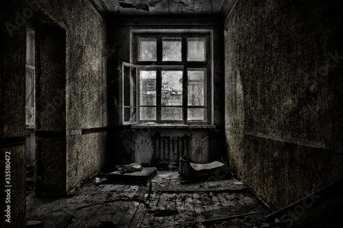 Old abandoned room with a wooden window Wallpaper Mural
