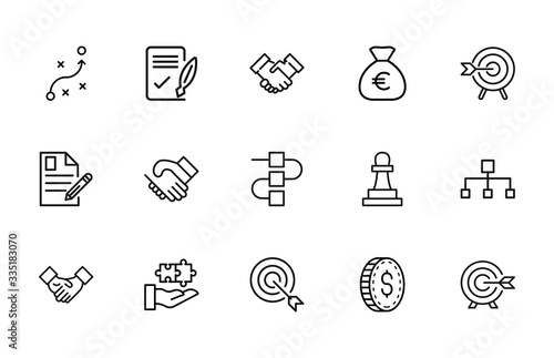 Photo Simple set of business strategy modern thin line icons.