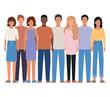 Isolated women and men avatars vector design