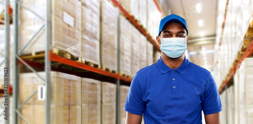Stampa su Tela health protection, safety and pandemic concept - happy indian delivery man in bl