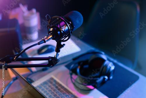 Online live radio studio desk Tablou Canvas
