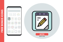 Notebook, Notepad Or Notes Application Icon For Smartphone, Tablet, Laptop Or Other Smart Device With Mobile Interface. Simple Color Version. Contains Free Bonus Icons