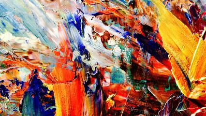 Šarene pozadine apstraktne pozadine. Suvremeni motiv vizualna umjetnost. Smjese uljne boje. Trendi ručno slikanje platna. Zidni dekor i zidne grafike Ideja. 3D tekstura.Šareni sažetak