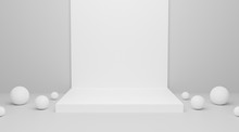 Abstract White Blank Empty Podium On Wall Background Texture With Geometric Shape For Presentation And Exposition. 3d Rendering Design. Pedestal For Display Product. 3d Exhibition Stand.