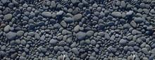 Black Pebbles Background. Bann...