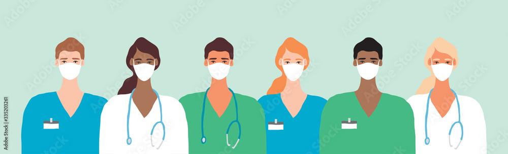 Fototapeta Doctor in Mask Coronavirus Frontline Illustration