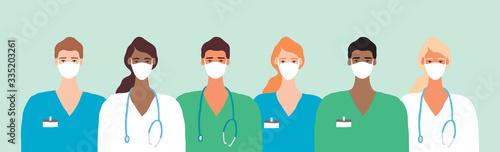 Foto Doctor in Mask Coronavirus Frontline Illustration