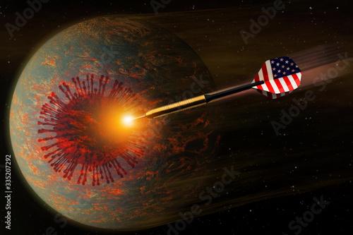 Embroidered American flag tail dart on coronavirus on earth background Tapéta, Fotótapéta