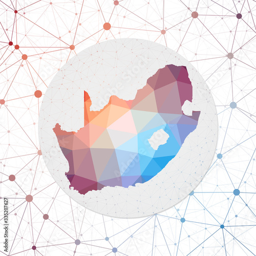 Fototapeta Abstract vector map of South Africa