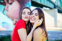 Two Best Female Friends Embrac...