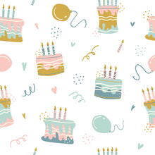 Seamless Pattern Of With Happy...