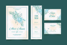 Wedding Card Template With Beautiful Watercolor Floral Wreath Premium Vector