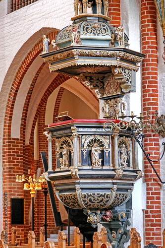 Photographie Pulpit in Roskilde cathedral, Denmark