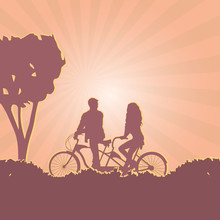 Vector Illustration. Silhouettes Of Boy And Girl On Tandem Bicycle Riding Together At Sunset. Concept Of Romantic Outdoor Activities For Couples