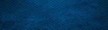 Blue Dark Vintage Retro Geometric Motif Cement Concrete Tiles Texture Background Banner Panorama With Diamond Shaped Rhombus Mesh Print
