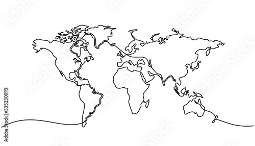 Photo continuous line drawing of world map