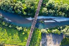 Steel Railroad Bridge Above A River. Aerial Drone View. Landscape Photography