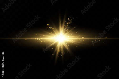 Obraz Set of golden light effects. Flashes and glares. Bright rays of light. Glowing lines. Vector illustration. Christmas flash. dust. - fototapety do salonu