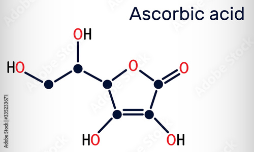 Photo Ascorbic acid, vitamin C, C6H8O6 molecule
