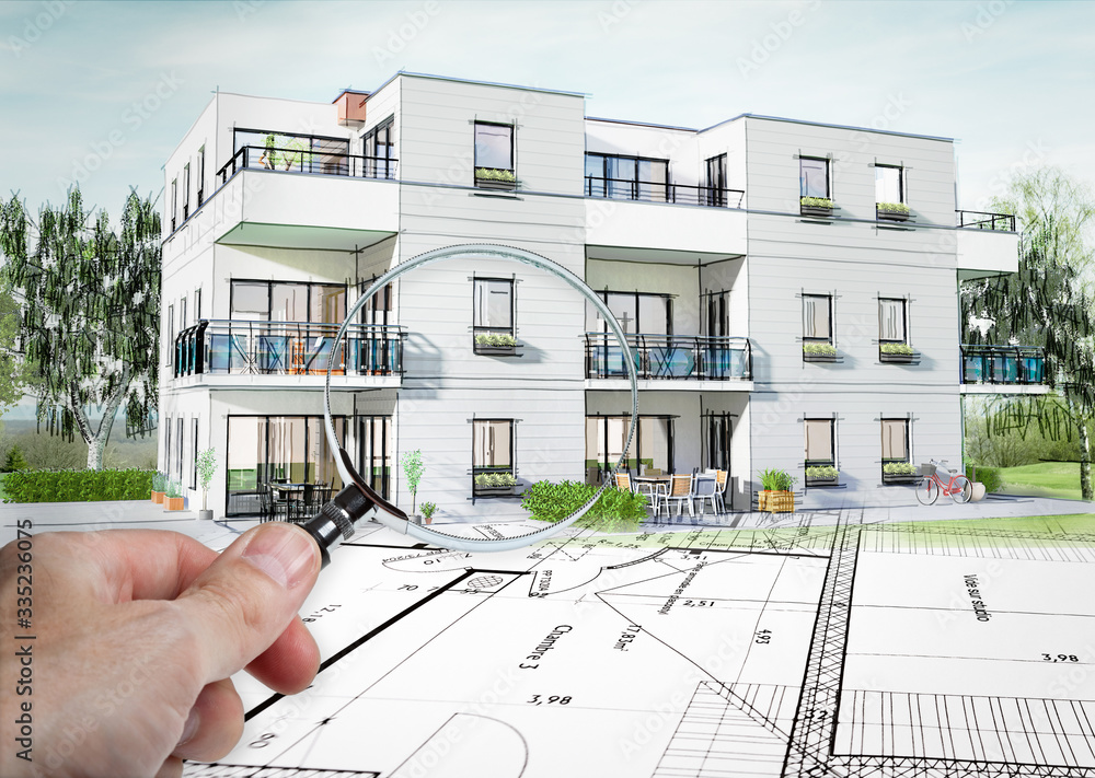Fototapeta Concept 3D d'un petit immeuble résidence moderne avec balcon et jardin