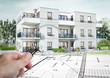 Concept 3D d'un petit immeuble résidence moderne avec balcon et jardin