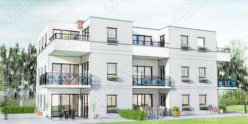 Concept et esquisse 3D d'un petit immeuble résidentiel moderne avec balcon et jardin #335236037