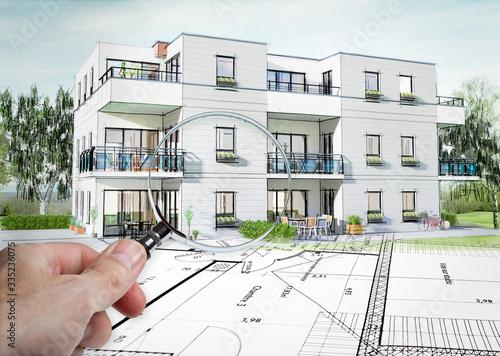 Obraz Concept 3D d'un petit immeuble résidence moderne avec balcon et jardin - fototapety do salonu