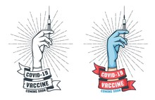Antiviral Vaccination Retro Poster. Hand With Syringe And Vaccine Against Infection Covid 19 - Vintage Logo. Vector Illustration.