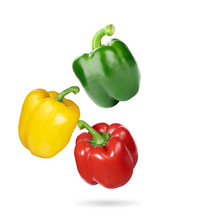 Colorful Sweet Peppers Isolated On White Background