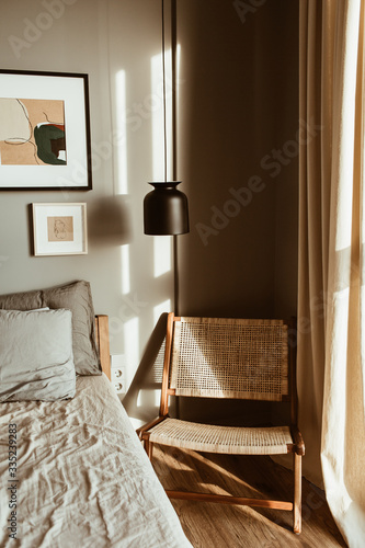 Modern Stylish Bedroom Interior Design Concept Cozy Neutral Scandinavian Tan Colored Living Room With Furniture Rattan Wooden Chair Bed Lamp Stock Photo Adobe Stock