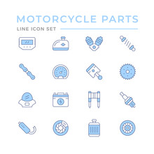 Set Color Line Icons Of Motorc...