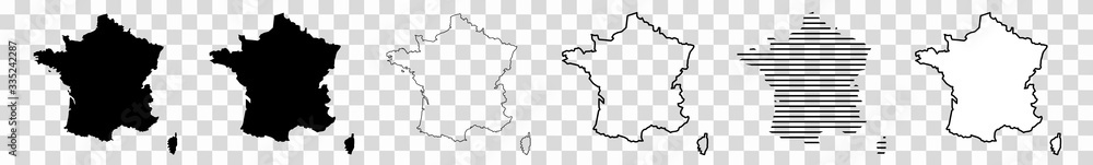 Fototapeta France Map Black | French Border | State Country | Transparent Isolated | Variations