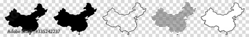 China Map Black | Chinese Border | State Country | Asia | Transparent Isolated | Variations