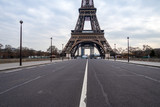Fototapeta Fototapety Paryż - Empty Iena bridge in front of Eiffel Tower during Coronavirus Lockdown in Paris.