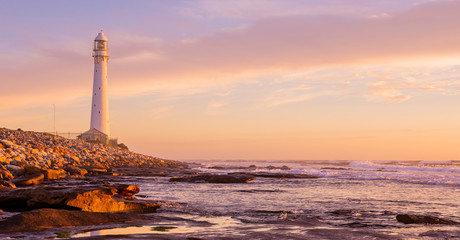 Slangkop Lighthouse near the town of Kommetjie in Cape Town, South Africa