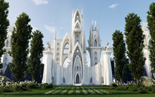 Medieval Fantasy Castle/Cathedral Hidden In Forest, Front View, Architecture Illustration, 3D Rendering