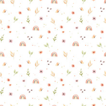 Сhildren's Watercolor Seamless Pattern. Floral And Colorful Polka Dot Background. Design Of Flowers, Rainbow, Circles And Butterfly. Perfect For Textile, Fabric, Wrapping Paper, Linens, Wallpaper Etc