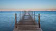 Pier on the red sea at sunrise in Jordan Aqaba, south beach