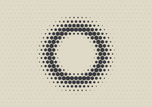 2D Abstract Geometric Wave Hex Halftone Pattern