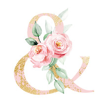 Ampersand Decorated Watercolor Painting Flowers And Leaf. Floral Pink And Gold Monogram Initials Perfectly For Wedding Invitations, Greeting Card, Logo, Poster And Other. Holiday Design.