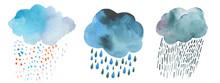 Set Of White Rainy, Snowy, Dar...