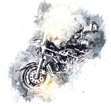 Motor Cycle Llustration Color ...