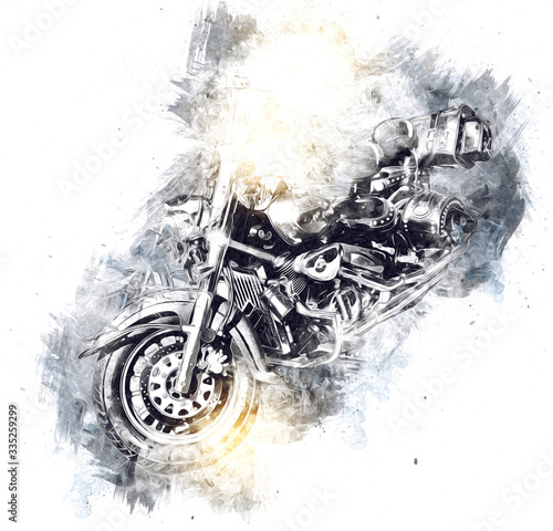 Canvas Print Motor cycle llustration color isolated art vintage retro