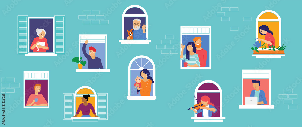 Fototapeta Stay at home, concept design. Different types of people, family, neighbors in their own houses. Self isolation, quarantine during the coronavirus outbreak. Vector flat style illustration stock
