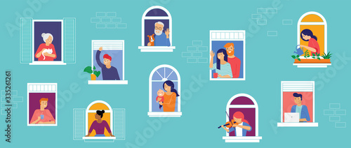 Stay at home, concept design. Different types of people, family, neighbors in their own houses. Self isolation, quarantine during the coronavirus outbreak. Vector flat style illustration stock - 335261261