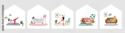 Fototapeta Quarantine, stay at home concept series - people sitting at their home, room or apartment, practicing yoga, enjoying meditation, relaxing on sofa, reading books, baking and listening to the music obraz