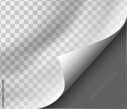 Obraz Page curl with shadow on blank sheet of paper for advertising and promotional message isolated on transparent background - fototapety do salonu