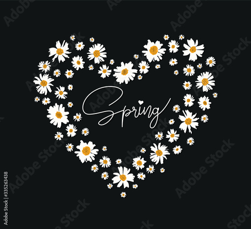 daisy drawing lines on the heart and spring fashion slogan for different apparel and T-shirt Poster Mural XXL