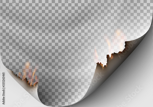 Photo transparent design burning templates torn paper with fire